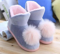 Wholesale Women S Flat Slippers - Lovely Ladies Crystal Plush Pink Home Slippers Warm Floor Ball Genuine Cony Hair Inner Balls Women Cotton Shoes Winter Latex S free shipping