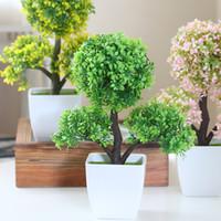 Wholesale Tree Pots Plastic - Hyson Shop Home Decoration Artificial Bonsai Pot Planter Fake Plants Mini Bonsai Real Touch Simulation Tree in Plastic Table Decor 3 Color