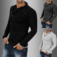 Wholesale Korea Mans Style - Men's T-shirt New Autumn Korea fashion casual slim long sleeved T-shirt autumn style mens clothing