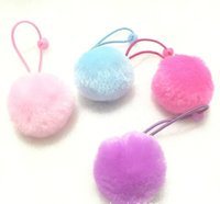 Wholesale Soft Band For Hair - 1.6 inch pom pom soft ball hair bands for kids pink purple blue Hot pink little girls hair accessories pony tailer holder hair rope elastic