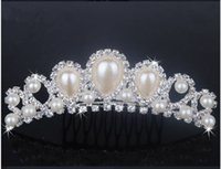 2015 New Prom Wedding Pearls Tiaras Diamant Cryatal Empire Empire Bridal Tiara Headband Cheveux Bijoux Accessoires
