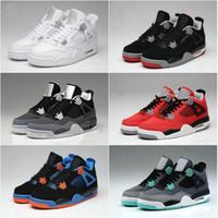Wholesale Superman Canvas - Top Quality Retro 4 Mens Basketball Shoes 4s White Cement Toro Bravo 4s Superman Bred Thunder Men Sports Shoes