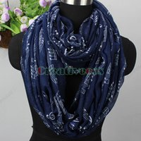 Wholesale Wholesale Endless Scarves - Women's Musical Note Print Long Scarf  Soft Infinity 2-Loop Cowl Eternity Endless Circle Casual Voile Scarf Neckerchief