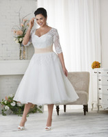 Wholesale Garden Wedding Short - 2015 Short Plus Size Wedding Dresses Custom Made V-Neck Matched Sash Applique A-Line Tea Length Half Sleeve Lace Vintage Bridal Gowns W1701