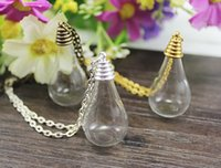 Wholesale Mini Fairy Dust Bottles Pendants - 10Pcs 31X18MM Flat Bottom Tear Drop With Necklace Chain ,fairy dust bottle,Lovely mini glass bottles