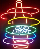ingrosso neon luminoso di bud-Bud Light Rainbow Bottiglia Neon Sign fatto a mano su misura Real Tube Tube Tube Bar KTV Disco Club Pub Display pubblicitario Neon Signs 15