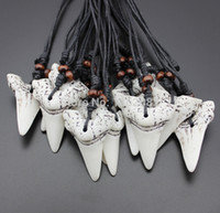 Wholesale Carved Bead Necklace - Wholesale lot 12pcs Imitation Yak Bone Carving Shark Tooth Charm Pendant Wood Beads Necklace Amulet Gift MN158