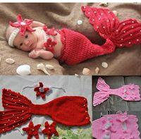 Wholesale Handmade Baby Knitted Cardigan - Wholesale-Baby climbing clothes baby clothes handmade knitted sweaters pearl mermaid costume