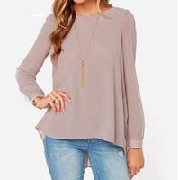 uzun sırt gevşek bluzlar toptan satış-Toptan Bahar Moda Kadınlar Şifon Bluzlar Casual Gömlek Blusas Femininas Uzun Kollu Pileli Geri Gevşek Bluz Artı Boyutu