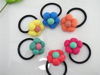 Wholesale Blossom Blends - Baby Girls Kids 3D plum blossom Hair Ropes Children Hairbands girls Kids hair bows Hair bands hair accessories color mixed KFR02
