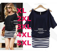 Wholesale Sexy Plus Size Pencil Dresses - 2015 lastest new summer women O-neck sexy striped dresses short sleeve mini dress plus size XL-5XL