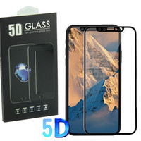 Wholesale Iphone 5s Screen Retail - 5D Curved Screen Protector For Iphone X 8 7 Silicone Edge Full Coverage Screen 9H Strong Hardness Tempered Glass Film with retail