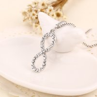 Wholesale korean diamond necklace - 2016 Korean jewelry pendant alloy figure 8-shaped diamond pendant Alloy Jewelry Summer Style Gold and Silver Two Color ZJ-0903260