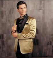 Wholesale Custom Made Groom Tuxedos Groomsmen - One Button Gold Jacket Black Pants Groom Tuxedos Peak Lapel Groomsman Men Prom Blazer Bridegroom Suits (Jacket+Pants+Girdle+Tie) G1211