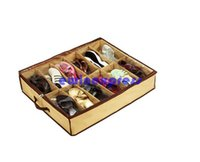 Wholesale Foldable Fabric shoes storage boexes organizer holder Case Closet Cells Saving Space keep shoes clean