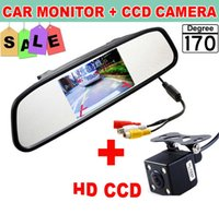 Wholesale Auto Camera Lcd - HD Video Auto Parking Monitor, LED Night Vision Reversing CCD Car Rear View Camera With 4.3 inch Car Rearview Mirror Monitor