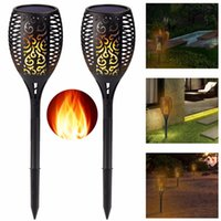 Wholesale Waterproof Solar Led Torch - Edison2011 Solar Lamp Garden Waterproof 96 LEDs Tiki Torch Light Outdoor Courtyard Solar Energy Dancing Flame Flickering Decoration Lamps