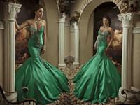 concurso para la venta al por mayor-2019 Vestido De Novia New Emerald Green Formal Prom Prom Dressees Sirena Barrido del tren bordado con cuentas Aldult Pageant Vestidos caliente