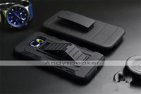 Wholesale Future Cell Phones - 1pc 3 in 1 Hybrid Sillicone+PC Future Armor Stand Case for Samsung Galaxy S6 High Quality with Clip Protective Cell Phone Cases Black