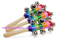 Wholesale Wholesale Wooden Baby Cribs - DHL Free shipping 100pcs Baby Rainbow Toy kid Pram Crib Handle Wooden Activity Bell Stick Shaker Rattle