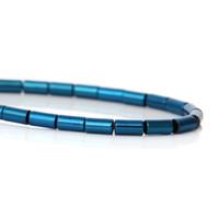 perlas de escarcha al por mayor-(Grado A) Cuentas de hematita natural Columna azul esmerilado Aproximadamente 4x 2 mm, 40 cm de largo, 1 filamento (aprox 98 piezas) (B43016)