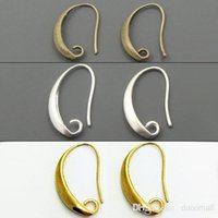 Venda por atacado-100pcs / lot Antique Bronze / Silver / Gold Plated Ear Wires gancho brinco para jóias DIY 13 * 19mm