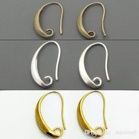 Wholesale Wholesale Bronze Wire - Wholesale-100pcs lot Antique Bronze Silver Gold Plated Ear Wires Hook Earring for DIY Jewelry 13*19mm