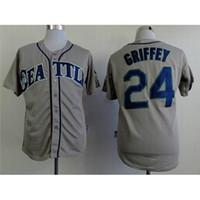 Wholesale Cheapest Branded Shirts - Mariners #24 Ken Griffey Gray Baseball Jerseys Top Quality Baseball Uniforms Brand Athletic Jerseys Stitched Men's Baseball Shirts Cheapest