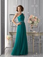 vestidos de novia verdes únicos al por mayor-Diseño único Una línea de un hombro largo Hunter Vestidos de dama de honor verdes con fajas de cristal Vestidos de noche elegantes para la boda