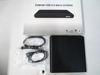 laptop ide sürücüler toptan satış-Harici USB İnce Yuvası DVD + RW CD + RW DL Yazıcı Burner Drive PC Laptop Için muhafaza kutusu