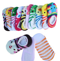 Wholesale Baby Socks Footwear Wholesaler - Four Seasons baby cartoon boat socks cotton non-slip floor early education toddler socks candy color children footwear 30pair 60pcs B3