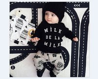 Wholesale Baby Boy Letter Shirt - 2016 New Arrivals Toddler Baby Boys Spring Clothes Sets Outfits Kids Long Sleeve Letters Milk Printed T-shirt+Pants 2pcs Baby Boy Suits