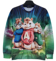 Wholesale Mens Cartoon Hoodies Sale - Alisister 2014 new Alvin and the Chipmunks cartoon sweatshirt mens hoodies 3d Print hamster clothes casual harajuku hoodies sale