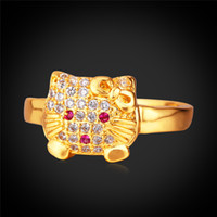Wholesale Cute Boxes For Jewelry - MGC Cute Hello Kitty For Kid Women 18K Real Gold Platinum Plated With Gift Box Vintage Rhinestone New 2015 Fashion Jewelry R890