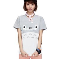 Wholesale Birthday Shirt Women - 1510 Women Girls 3D cartoon Totoro t shirt Tee tops Boys gray totoro cosplay costume summer cotton T-shirt Christmas Birthday Gift