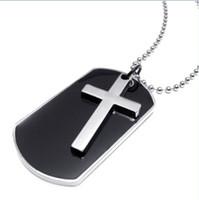 Wholesale Army Pendants - Army Style Dog Tag Cross Pendant Mens Necklace Color Black Silver 23 inch Chain