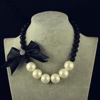 Wholesale Elegant Vintage Necklaces - Wholesale-Hot Fine Big Pearl Jewelry Bowknot Choker Necklace Statement Vintage Colar Elegant Cute Maxi Necklace For Women 2015 Newest