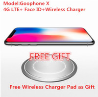 Wholesale Android Cdma Unlocked Phones - 2018 Best Goophone X Free Wireless Charger Real 4G LTE Face ID 256GB ROM 2GB RAM 12MP Quad Core Smart Unlock Mobile phone.