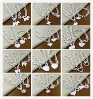 encomenda moda china venda por atacado-Ordem mista 12 set / lote 925 esterlina banhado a prata colar de pingente de coração pulseira conjunto de jóias de moda bonito presente frete grátis