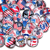 Wholesale fit symbol - Wholesale 50pcs Lot Mixed USA Symbol Pattern Multi 18mm Glass Snap Button Jewelry Faceted Glass Snaps Fit Bracelet Ginger Snap Jewelry