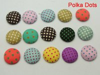 Wholesale Diy Hair Clips Covers - 50 Mixed Color Flatback Polka Dots Fabric Covered Buttons Round 12mm for DIY Hair Clip
