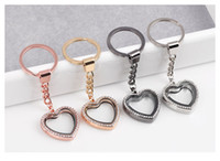 5pcs / lot Fashion Key chainJewelry Peach Heart Love Silver Rhinestones Memória Vidro Living Floating Locket Charms Keychain