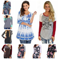 Wholesale Striped Tank Top Dress - T Shirt Christmas Shirts Women Plaid Blouse Striped Floral Tops Casual Fashion Dress Leisure Long Sleeve Tees Loose Tank 53 Colors New B3600