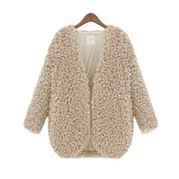 Wholesale Warm Elegant Wool Coats - Wholesale-Winter Fall Womens Fluffy Coat Shaggy Faux Fur Cape Jacket Elegant Outwear Cardigan Tops Wool Warm Outfit Overcoat