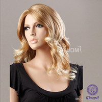 Wholesale Kanekalon European - midium long blond wigs for women european hair wigs weaves Synthetic fiber of 100% Kanekalon 1pc Lot Free Shipping 0729XC977-27T613