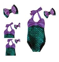 Wholesale Kids Bikini Outfits - PrettyBaby bowtie Kids Girls Mermaid Bikini Suit Swimmable Mermaid one piece Swimsuit Swimwear bow Headband Outfits Set free shipping