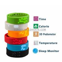 Wholesale Health Sport Watch Dhl - Smart Watch W2 Sillicone Sports Bracelet LED Time Health Records Smartband 3D Pedometer Calorie Temperature Sleep Tracker DHL 30PCS