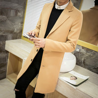 Wholesale Brown Men S Trench Coat - Wholesale- Winter men's tops clothing brand fashion windbreaker new society suitable coat trench coat men solid color Large size Coat M-5XL