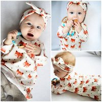 Nuovo arrivo Cute Baby Dress Pure Cotton Princess Girls Abbigliamento Abiti Cartoon Animal Fox Bowknot Fasce 2pcs Set manica lunga Set A8081