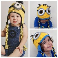 Wholesale Crocheted Girl Minion Hat - Children kids minions Crochet beanie knits handmade beanies baby Despicable Me beanies caps hats christmas gift 100Pcs